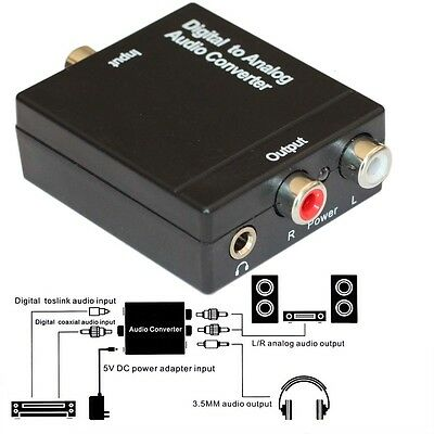Digital Optical Coaxial Toslink Signal to Analog Audio Converter Adapter RCA 3.5