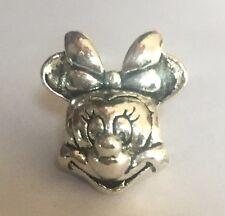 Disney's Minnie Mouse Head Portrait Charm For Bracelets Silver Plated