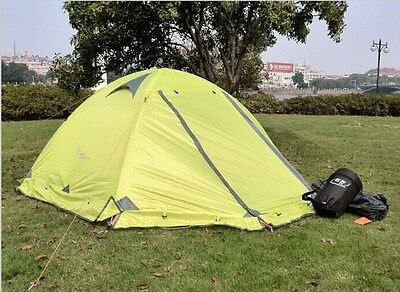 Green Outdoor Camping Travelling Double layer Tent 2persons 4 Season Snow Skirt