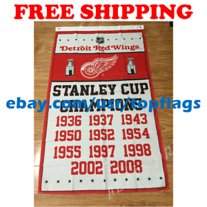 Detroit-Red-Wings-Stanley-Cup-Champions-Flag-Banner-3x5-ft-2019-NHL-Hockey-NEW