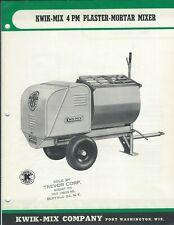 Equipment Data Sheet Kwik Mix 4 Pm Plaster Mortar Mixer Brochure E5439