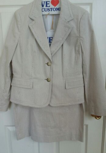 Women's Jones New York Beige Tan Pinstrip Pencil S