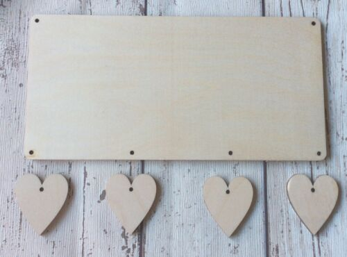 **NEW**10 unpainted wood rectangular plaques with 3 or 4 hanging hearts
