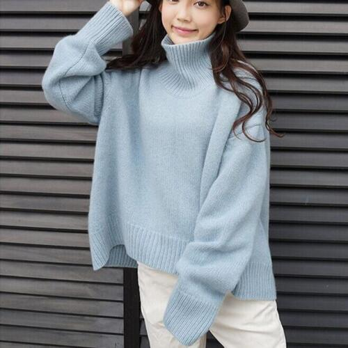 larga Tops espesar de Para manga flojo jersey cuello alto mujer prendas suéter D456 de punto tgwv4