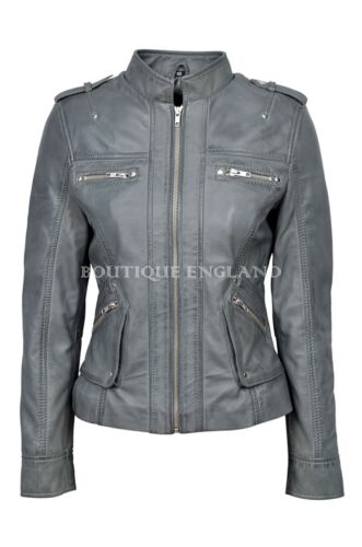 New Ladies 1148 Grey Military Style Casual Luxury Real Soft Nappa Leather Jacket