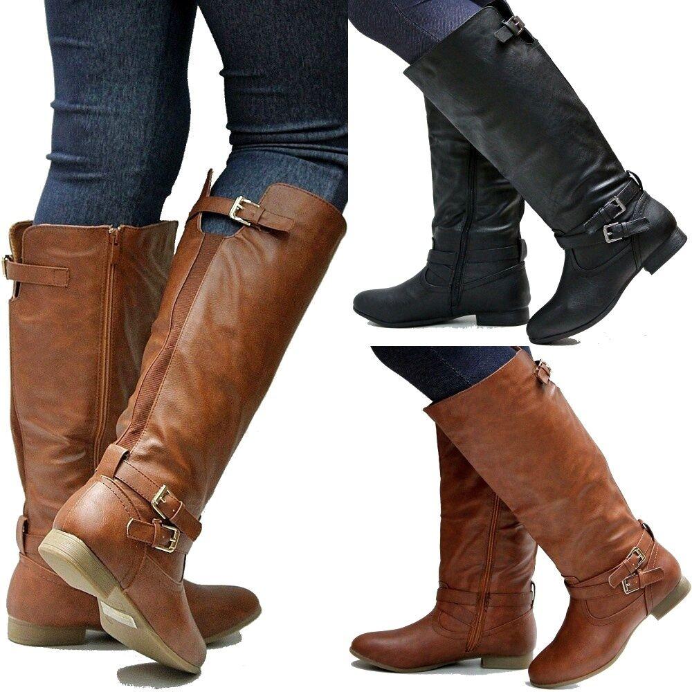 New Women TCc3 Tan Black Wider Calf Riding Knee High Boots sz 5 to 10