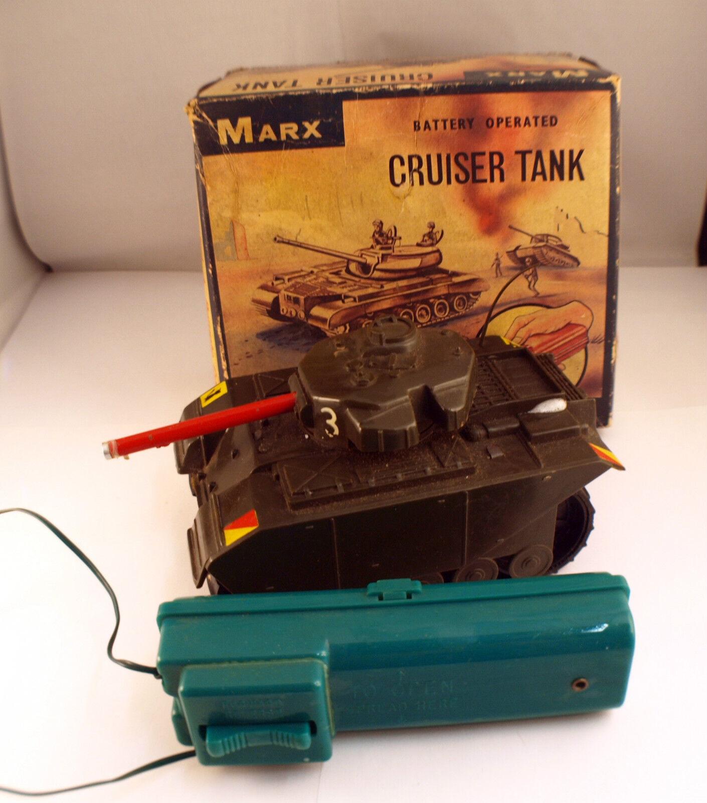 Marx Juguetes USA Cruiser Tank (Tanque) con Motor y Adj Batería en Caja Raro Antiguo