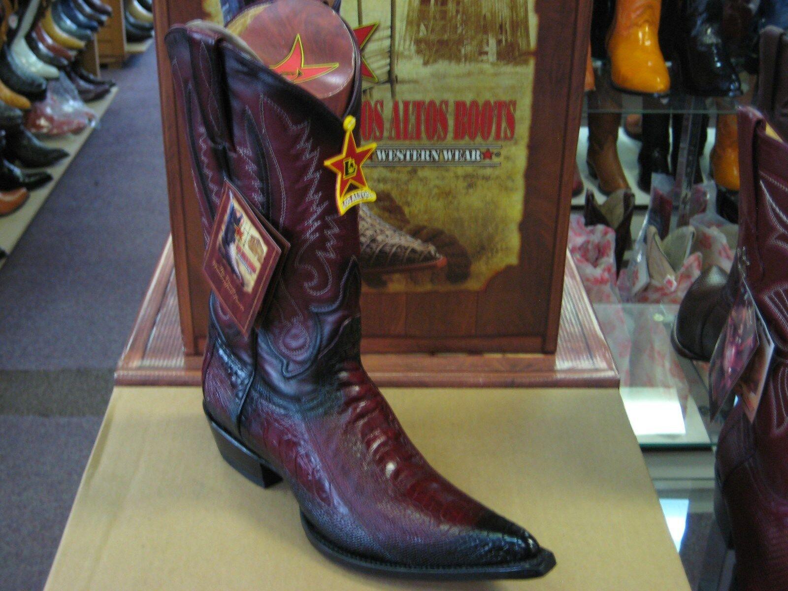 LOS ALTOS BURGUNDY 3X-TOE GENUINE OSTRICH LEG WESTERN COWBOY BOOT (EE+) 95V0543