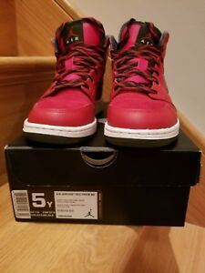 differently e12f7 bf059 Details about NEW Air Jordan 1 mid prem bg red dark army velvet 5Y sneaker  shoes