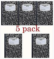 5pk Composition Book Note Books Wide Ruled 200 Pages White 9-3/4 X 7-1/4