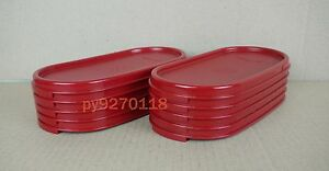 Free Shipping Tupperware Modular Mates Cranberry Oval Lids 5-pc