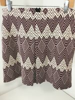 Atmosphere Primark Women's Pleated A Line Chevron Skirt Wht/burgundy Us Sz 6