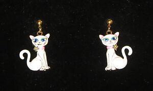White cat earrings