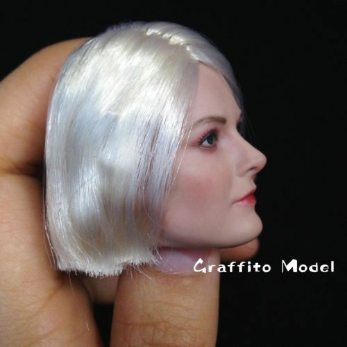 DSTOYS D-OO1A Short White Hair Head Model 1//6 scale Female Head Carving
