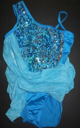 NWT Turquoise One Shoulder Dance Costume Full Leotard Under Glittered Mesh Ch//Ad