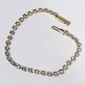 Vintage-prong-set-white-clear-rhinestone-gold-tone-tennis-bracelet-box-clasp-7-034