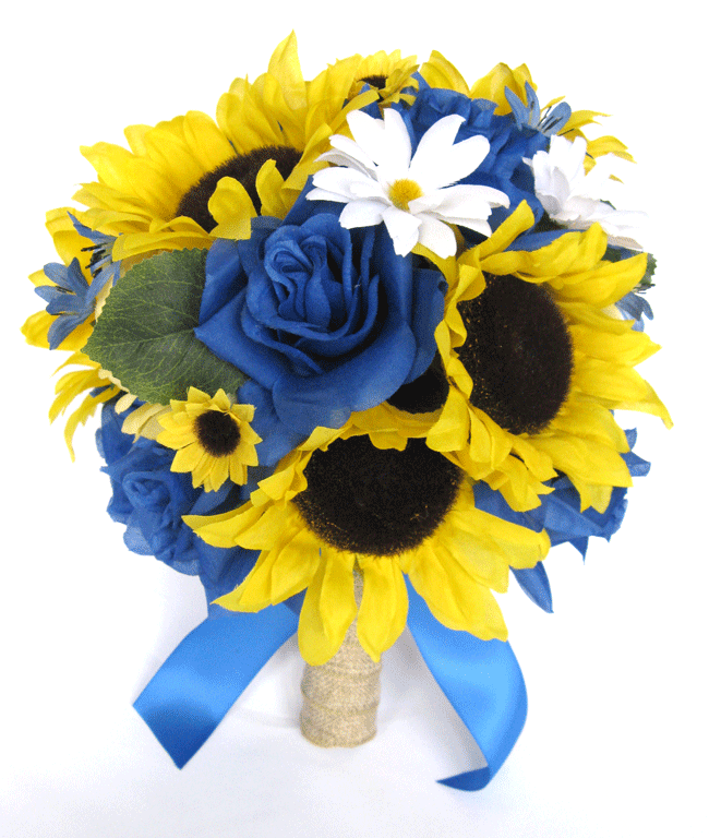 17 PC Emballage Mariage Bouquets Mariée fleurs de soie tournesol Royal blanc Daisy