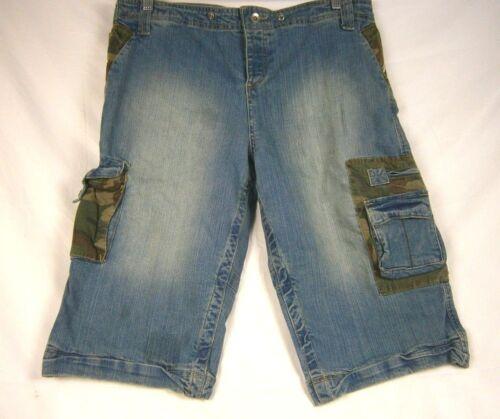 P.O.V Men/'s Bunker Jean Shorts 34 Blue//Camo NWT 456J LA01
