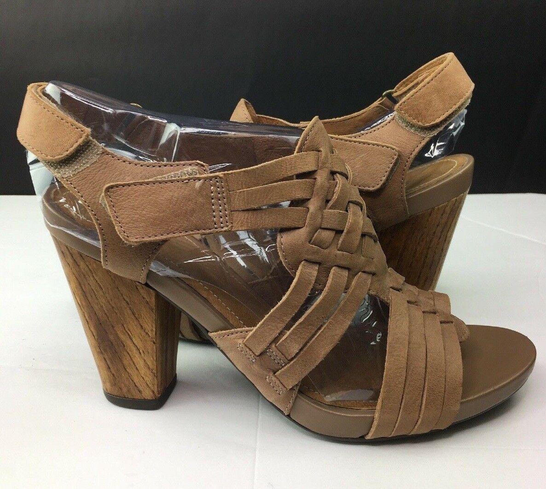 Clarks Indigo Tan Leather Wood Heel Strappy Sandal  64451