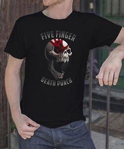 Five-Finger-Death-Punch-Men-Black-T-shirt-Metal-Band-FFDP-Rock-Tee-Shirt
