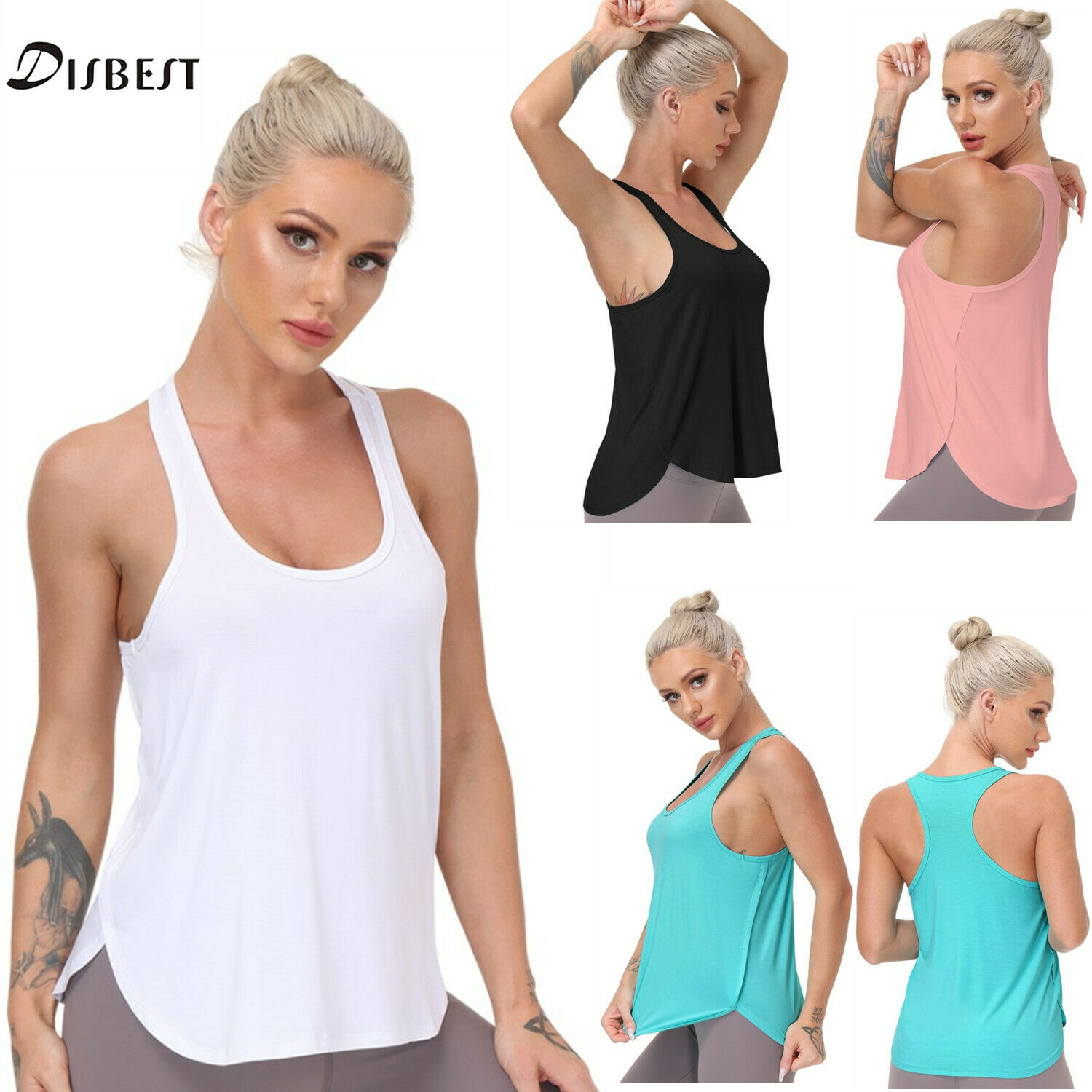 Womens YOGA Sports Tank Tops Cool Gym Fitness T Shirt Ladies Summer Casual Vest
