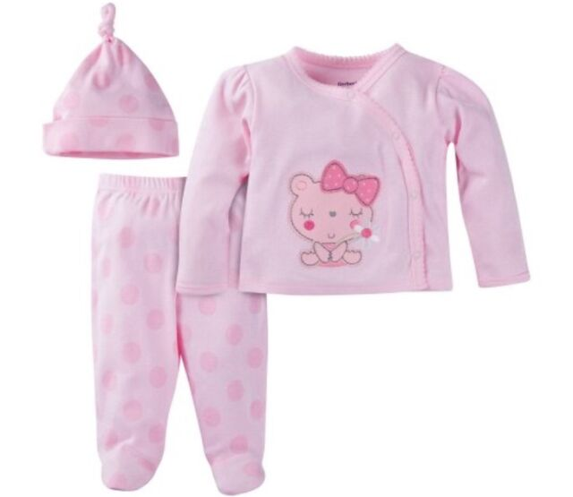 8328cb13bf02 Gerber Girls Take-me-home 3 Piece Layette Gift Set Baby Shower Pink ...