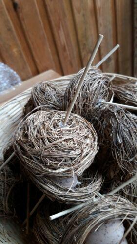 2 St Ostern Naturmaterial Osternester auf Stecker