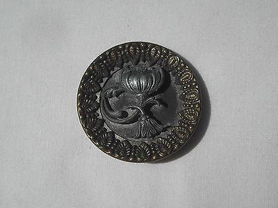 Antique Brass & Metal Button, 39mm Diameter, Item 258