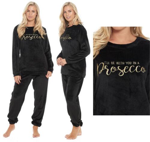 Prosecco Fleece Pyjamas Ladies Black Lounge Twosie Novelty Flannel Womens PJ's