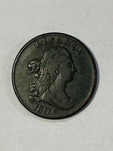 1805   Half Cent  large 5 stems