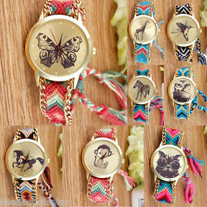 Womens-Thread-Braided-Weaved-Butterfly-Animal-Wrist-Watch-Bracelet-Ladies-Gift