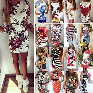 Damen-Kleid-Bodycon-Partykleid-Abendkleid-Cocktailkleid-Sommer-Pencil-Minikleid