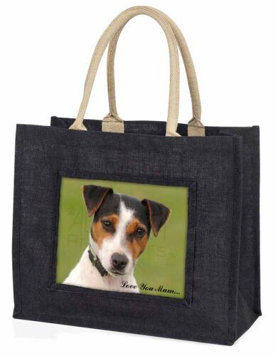 Jack Russell Terrier Dog /'Love You Mum/' Large Black Shopping Bag AD-JR57lymBLB