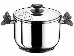 Stainless Steel Pasta Spaghetti Pot With Locking Strainer Lid 22 Cm