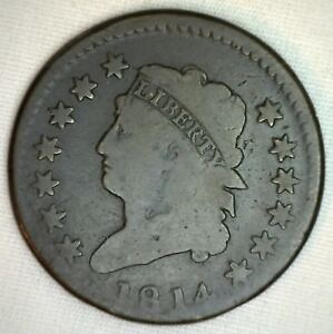 1814-US-Copper-Large-Cent-S-295-Plain-13-Stars-One-Cent-Coin-Circulated-1c