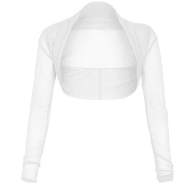 New Women's Sheer Mesh Chiffon Bolero Shrug Long Sleeve Crop Cardigan Tops