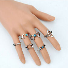 6Pcs Turquoise Arrow Moon Statement Midi Rings Set Female Jewelry Popular LWC