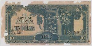 Mazuma *M1272 Malaya Japanese WWII JIM 1942 $10 MH Good Only