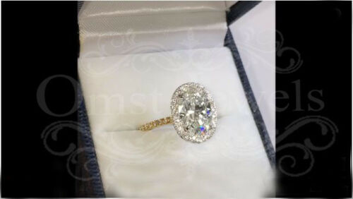 4.70ct Oval Moissanite Unique Engagement Wedding Fine Ring 10K Yellow Gold Over