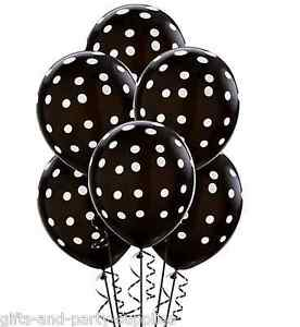 Black white polka dots latex balloons birthday wedding for Black and white polka dot decorations