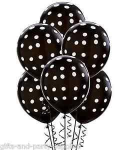 Black white polka dots latex balloons birthday wedding for Black and white polka dot decorations