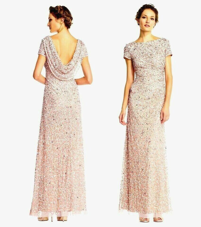 Adrianna Papell Beaded Cowl-Back Gown * 2 NWT Bridesmaid Gala Blush Short Sleeve