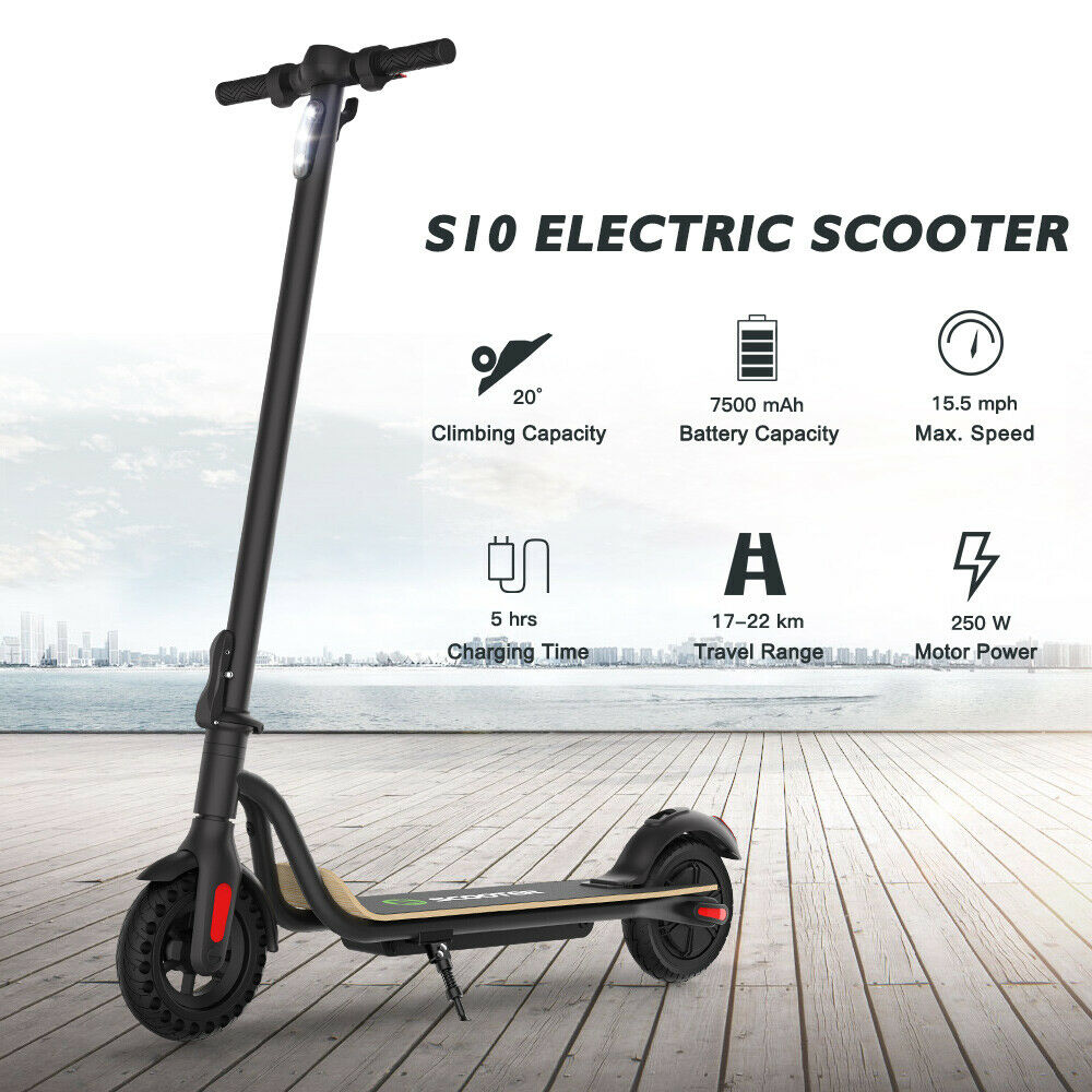 MEGAWHEELS S10, FOLDING ADULT ELECTRIC SCOOTER, UP TO 16MPH, 8.0″ HONEYCOMB TYRE