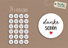 """24 x Geschenkaufkleber """"Danke Schön"""" 40mm weiß Etiketten Aufkleber Sticker"""