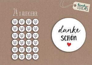 24-x-Geschenkaufkleber-034-Danke-Schoen-034-40mm-weiss-Etiketten-Aufkleber-Sticker