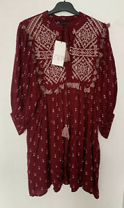 ZARA-MAROON-EMBROIDERED-PUFF-SLEEVES-BOHEMIAN-DRESS-WITH-TASSELS-SIZE-S-BNWT