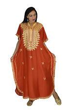 Moroccan Caftan Women Kaftan Abaya Beach Cover Summer Long Dress Cotton Orange