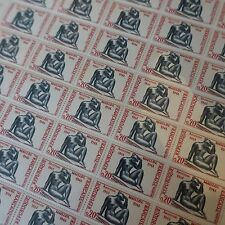 FEUILLE SHEET TIMBRE SCULPTEUR ARISTIDE MAILLOL N°1281 x50 1961 NEUF ** LUXE MNH