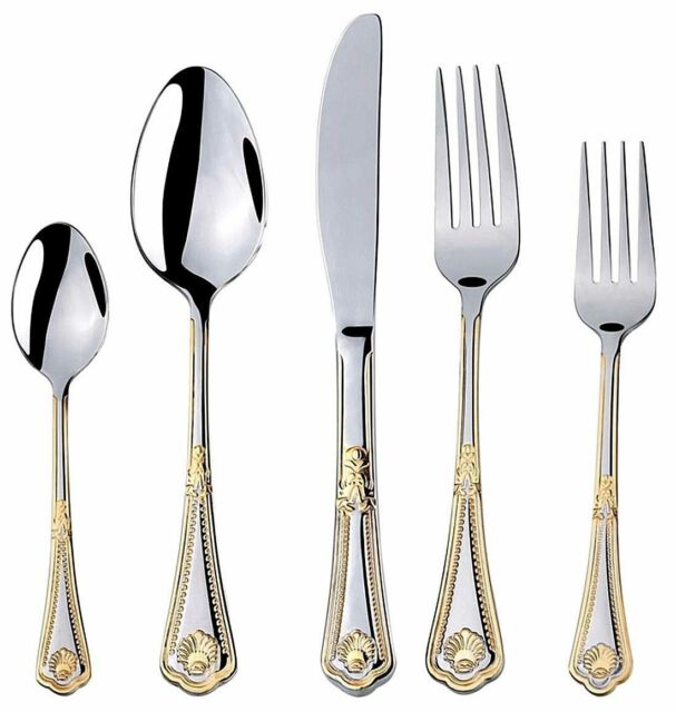 Flatware Set Service For 4 Gold Plated