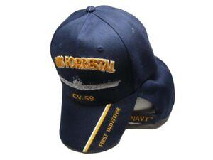 US Navy USS Forrestal CV-59 First Indefense Embroidered Ball Cap ... 39cc2dd20d8